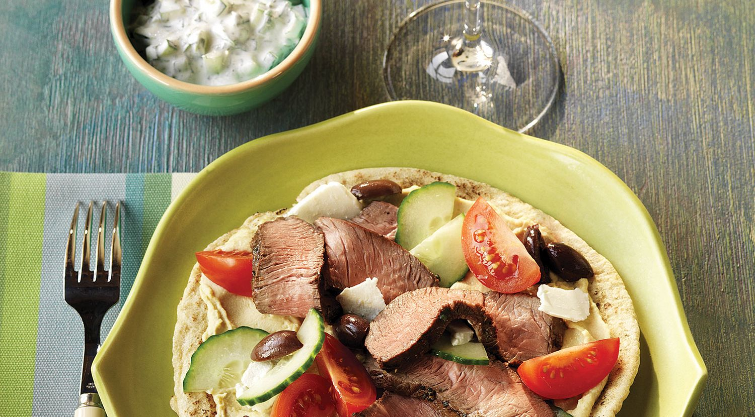 Mediterranean Beef  Pitas with Yogurt-Cucumber Sauce