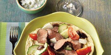 Mediterranean Beef Pitas with Yogurt-Cucumber Sauce