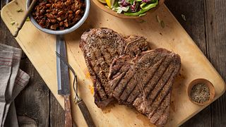 Rocky Mountain Grilled T-Bone Steak With Charro-style beans