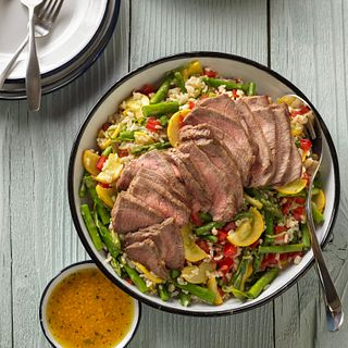 Farmer's Market Vegetable, beef and brown rice salad