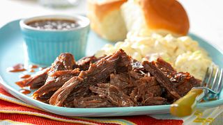 Slow-Cooked Whiskey-Molasses Shredded Beef