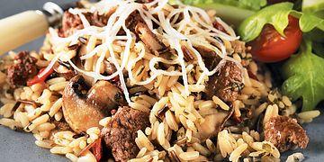 Beef, Wild Rice and Mushroom Bake