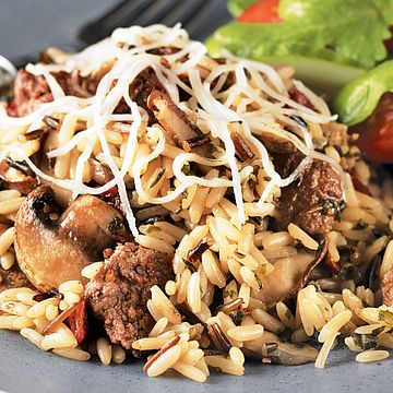 Beef, Wild Rice and Mushroom Bake