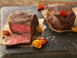 Lemon-Pepper Seasoned Ribeye Fillets with Roasted Tomatoes