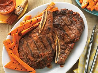 Spicy Ribeyes with Ginger-Orange Grilled Carrots
