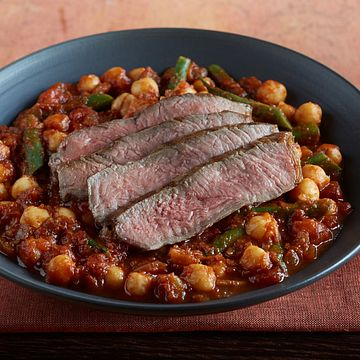 Grilled Strip Steak with Moroccan Stew