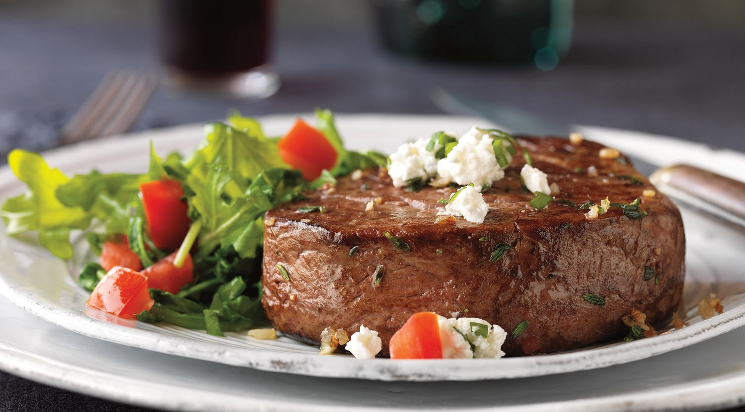 Herbed Tenderloin Steaks with Goat Cheese Topping