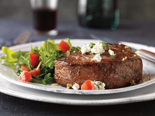 Herbed Tenderloin Steaks with Garlic Cheese Topping
