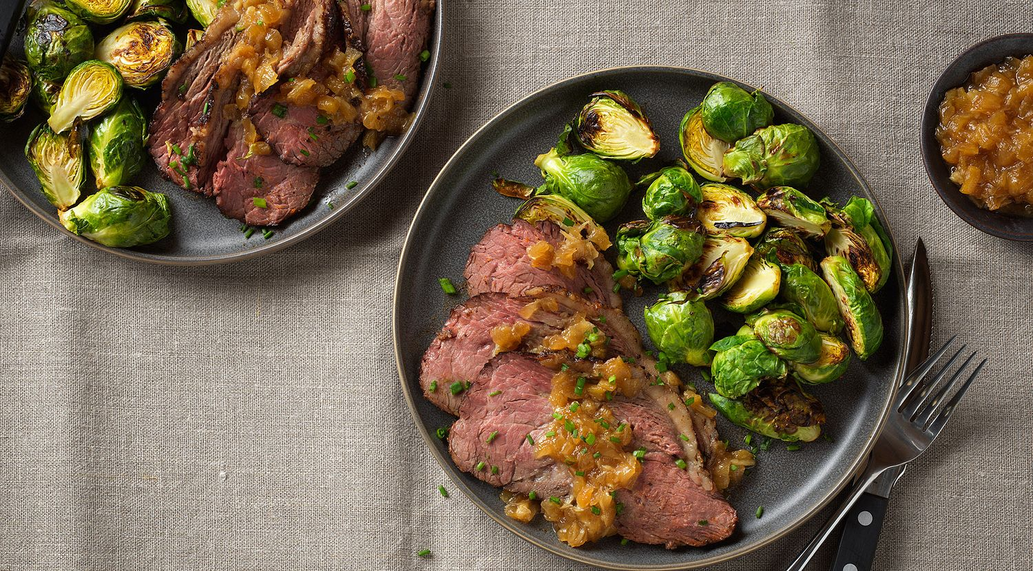 Red Eye-Rubbed Beef Sirloin Cap Roast with Roasted Garlic and Caramelized Onion Jam