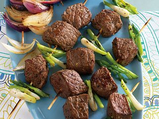 Onion Lover's Grilled Steak Kabobs with Crumbled Blue Cheese