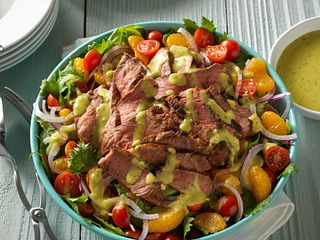 Grilled Spicy Steak Salad with Guacamole Salsa