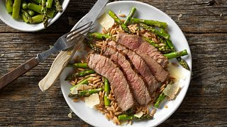 Grilled Top Round Steak with Parmesan Asparagus