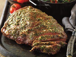 Mustard-Glazed Sirloin Roast with Sauteed Green