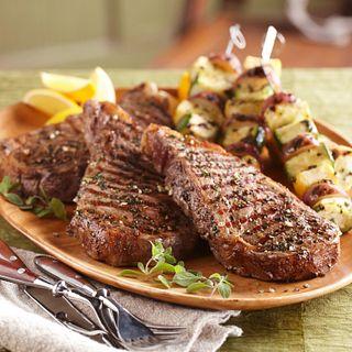 Ribeye Steaks and Seasoned Vegetable Kabobs