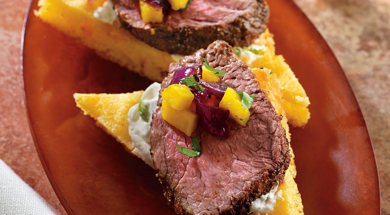 """Ancho Chile Beef on Cornbread """"Crostini"""""""