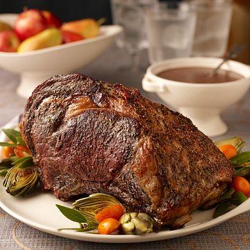 Herb-Seasoned Rib Roast with Red Wine Pan Sauce