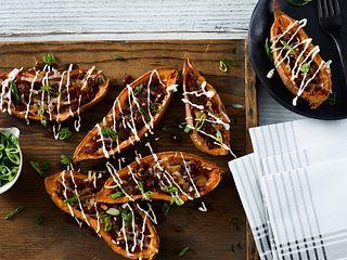 Beef Jerky Baked Potato Skins