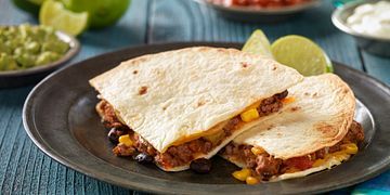 Easy Baked Beef, Bean and Corn Quesadillas