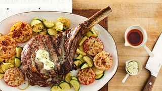 Grilled Cowboy Steak with Parmesan Tomatoes and Cucuzza Squash