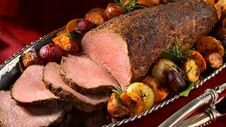 Smoky Paprika rubbed beef tenderloin with roasted root vegetables