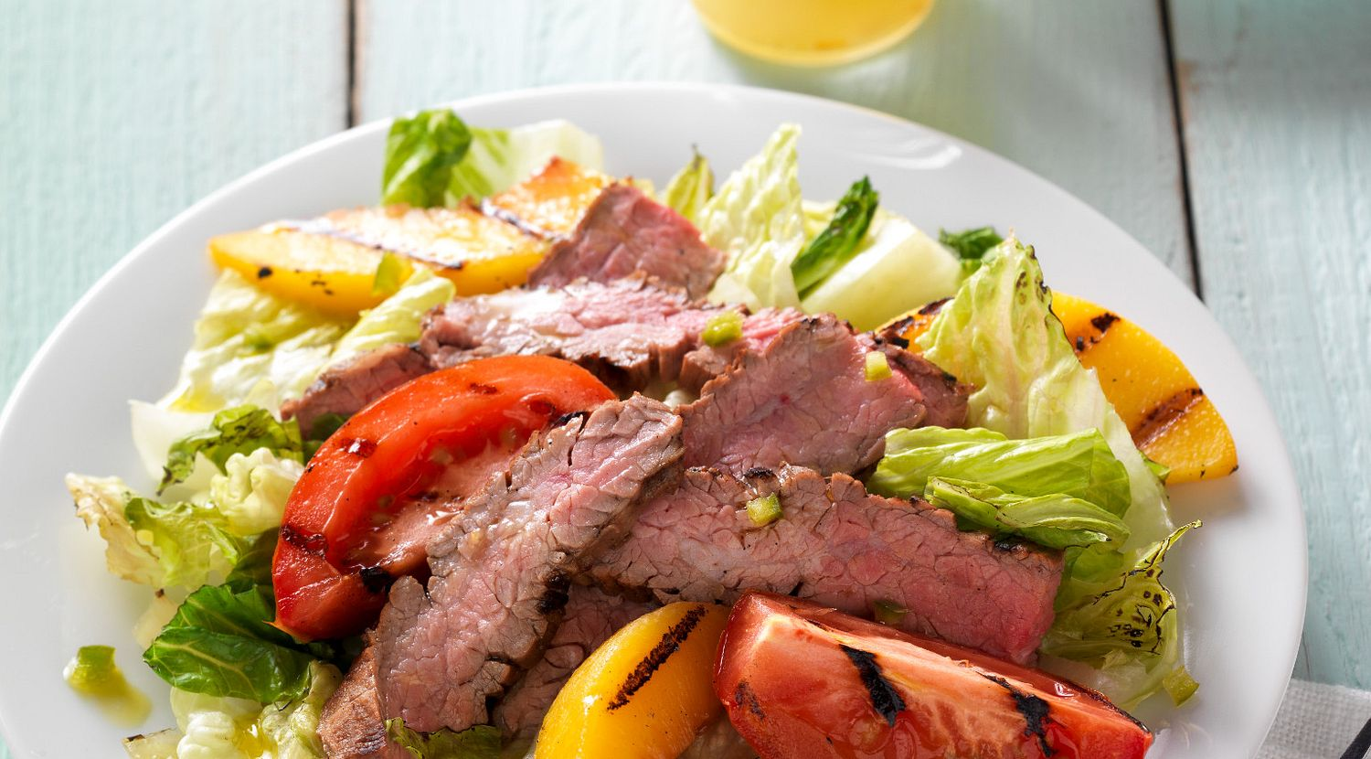 Grilled Flank Steak and Peach Salad