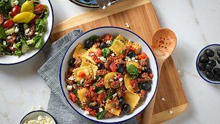 Greek-Style Beef & Cheese Ravioli