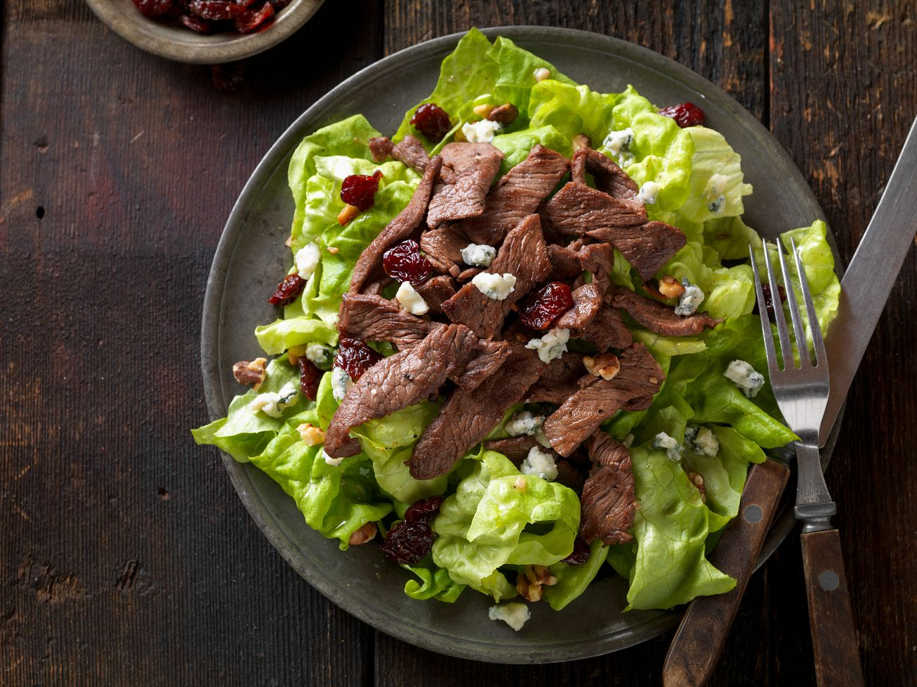 beef-steak-salad-with-dried-cherries-horizontal-aerial
