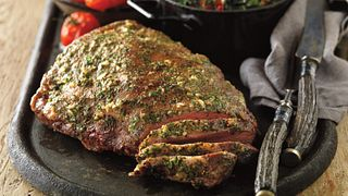 Mustard-Glazed Sirloin Roast with Sauteed Green