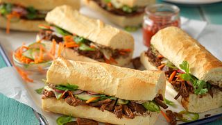 Slow-Cooked Gochujang Banh Mi with Whipped Beef Liver Pate and Pickled Vegetables