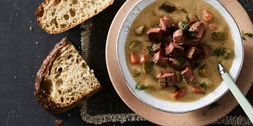 Beefy Dill Pickle Soup