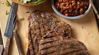 Rocky Mountain Grilled T-Bone Steaks with Charro-Style Beans