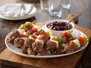 Mini Skewered Beef Meatballs and Vegetables