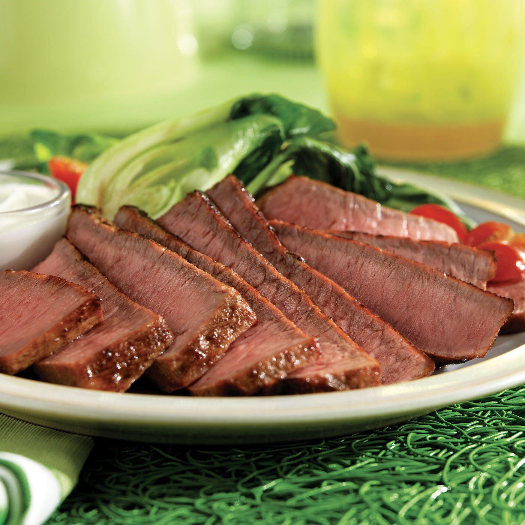 Grilled Eye of Round Steaks with Wasabi-Yogurt Cream