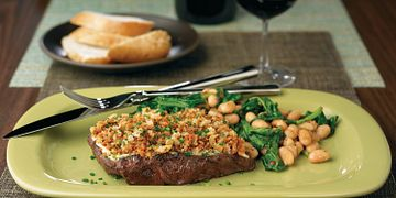 Porcini-Dusted Steaks with Horseradish Crust