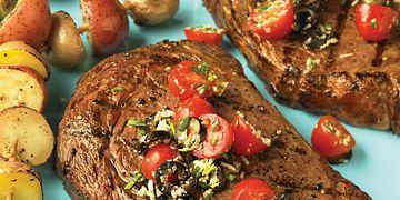 Ribeye Steaks with Fresh Tomato Tapenade