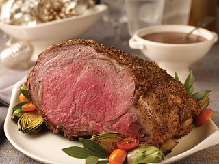 Herb-Seasoned Rib Roast with Red Wine Pan Sauce