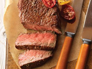 Lemon-Pepper Seasoned Ribeye Fillets with Roasted Tomatoes Aerial
