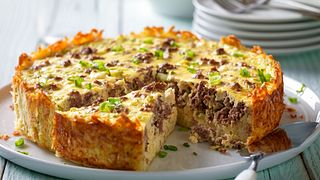 Beef Breakfast Sausage and Goat Cheese Egg Bake