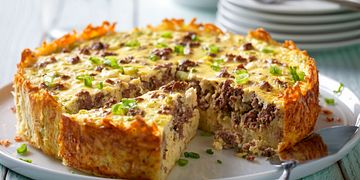 Beef Breakfast Sausage & Goat Cheese Egg Bake with Hash Brown Crust