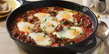 Saucy Beef with Baked Eggs