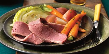 Slow-Cooked Corned Beef in Beer with Red Currant-Mustard Sauce