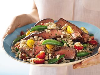 steak sugar snap pea and barley salad