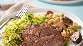 Braised Beef with Mushrooms and Barley