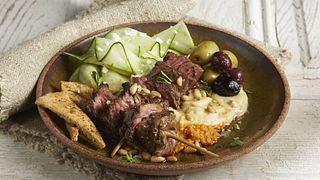 Mezze Steak Skewers and Hummus