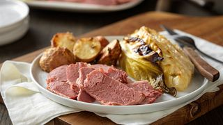 Dijon-Glazed Corned Beef with Savory Cabbage and Red Potatoes