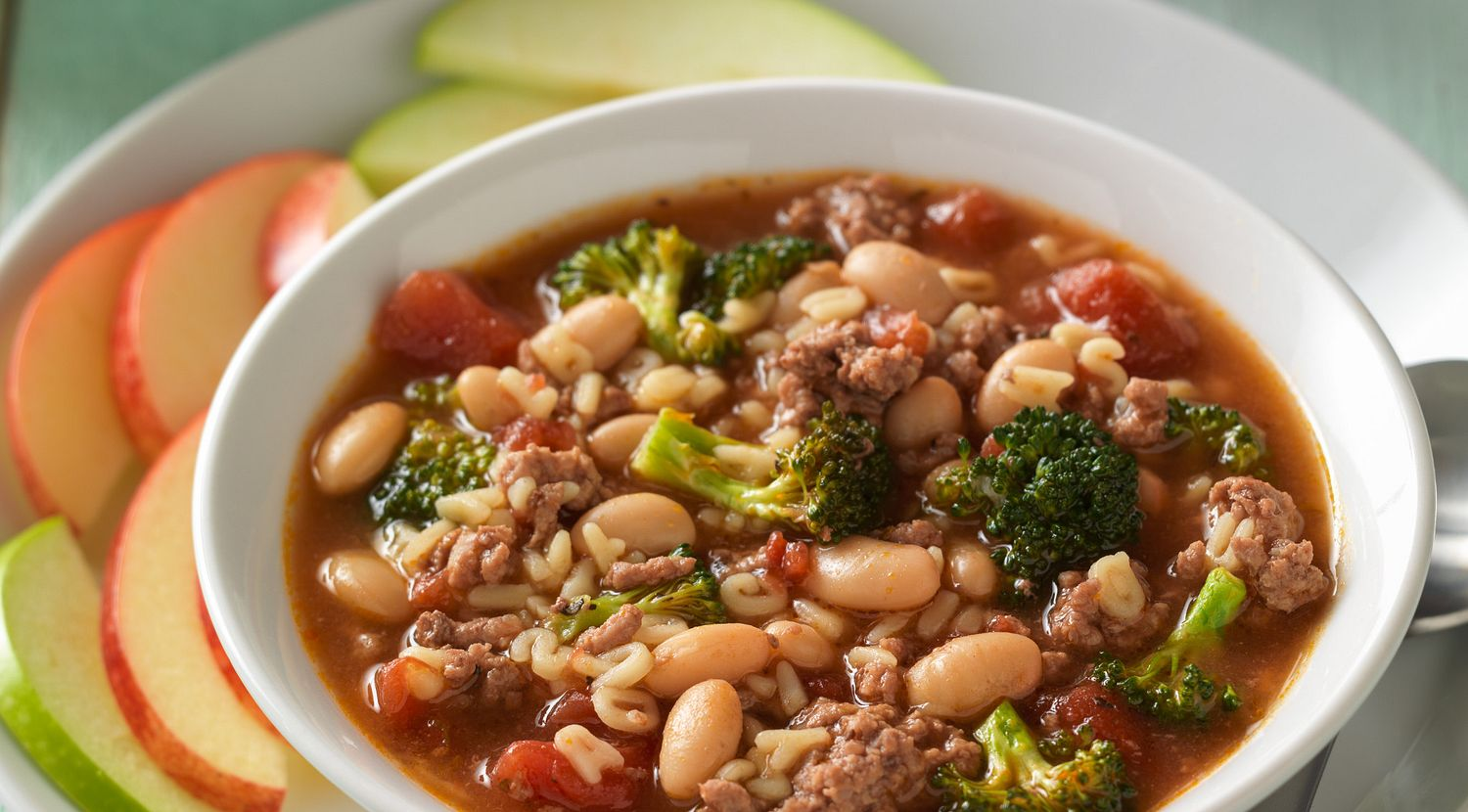 Zippy Beef Alphabet Soup with Parmesan Toasts