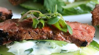 Spicy Korean Beef and Cucumber Appetizer
