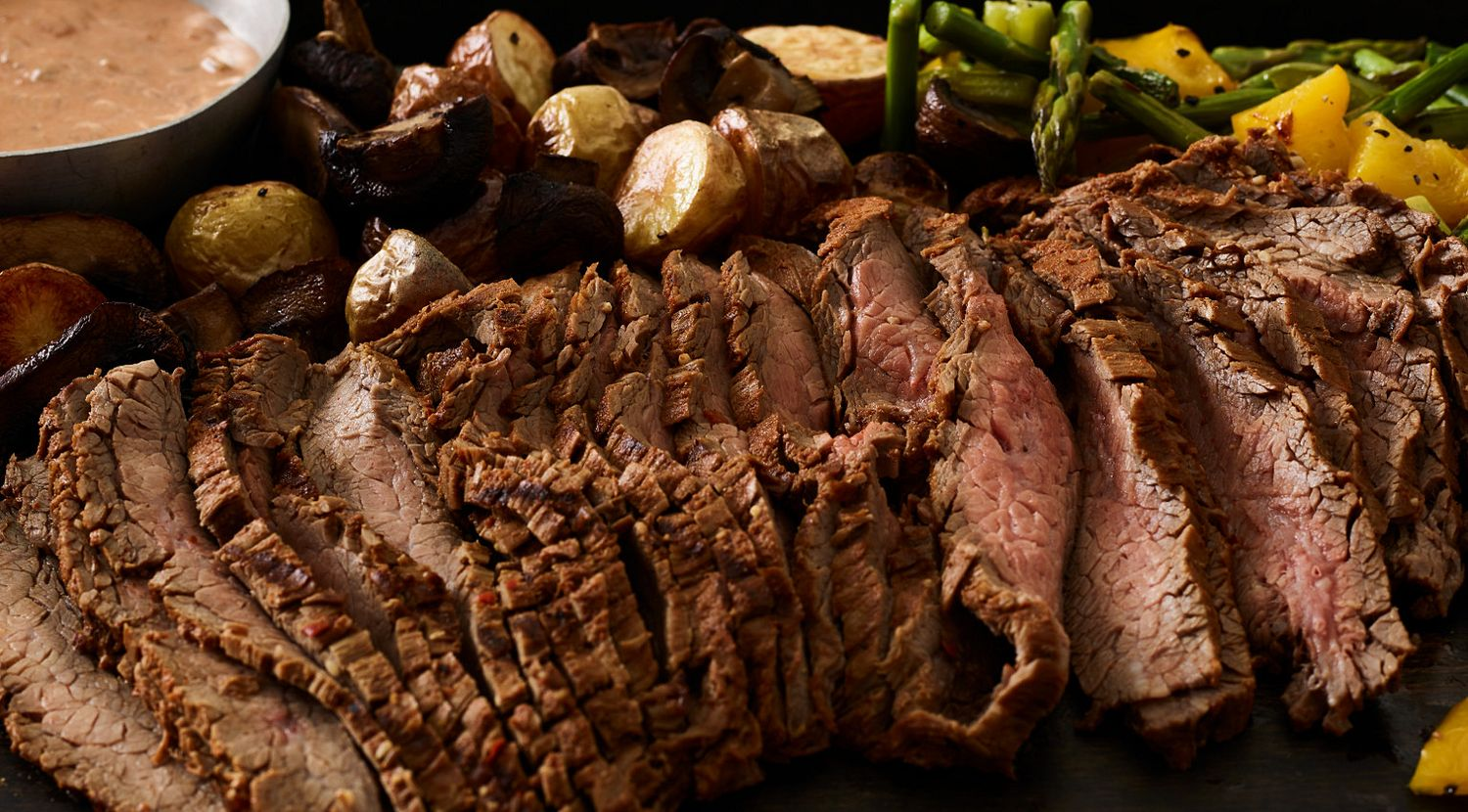 Six-Chile Beef Flank Steak with Southwest Tomato Cream and Roasted Vegetables