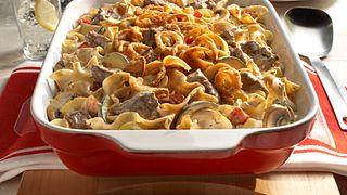 Easy beef mushroom noodle bake