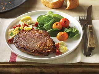Parmesan-Crusted Beef Steaks with Mediterranean Relish